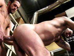 Гей с большим членом вставляет сзади мускулистому красавчику на складе